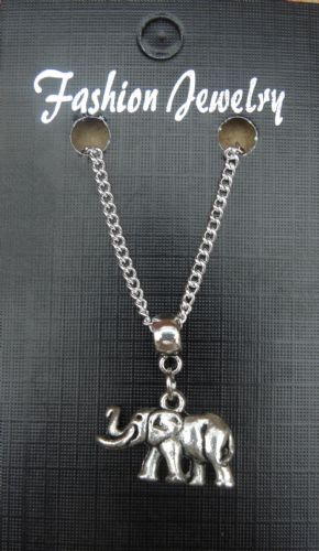 "18 or 24"" Inch Chain Necklace & 3D Elephant Pendant - Animal Lovers Charm Gift"